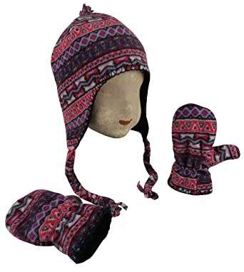 N Ice Caps Little Girls and Baby Fair Isle Fleece Hat and Mittens Set ( 4c286e9ff93