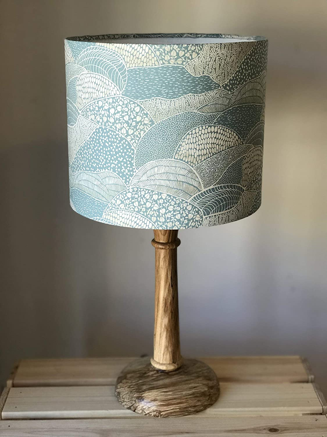 Blue Landscape Drum Lampshade, rolling fields, countryside