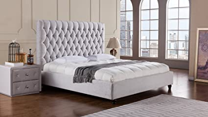American Eagle Furniture B D060 Ek Sterling Collection Fabric Bedroom High Tufted Headboard Bed