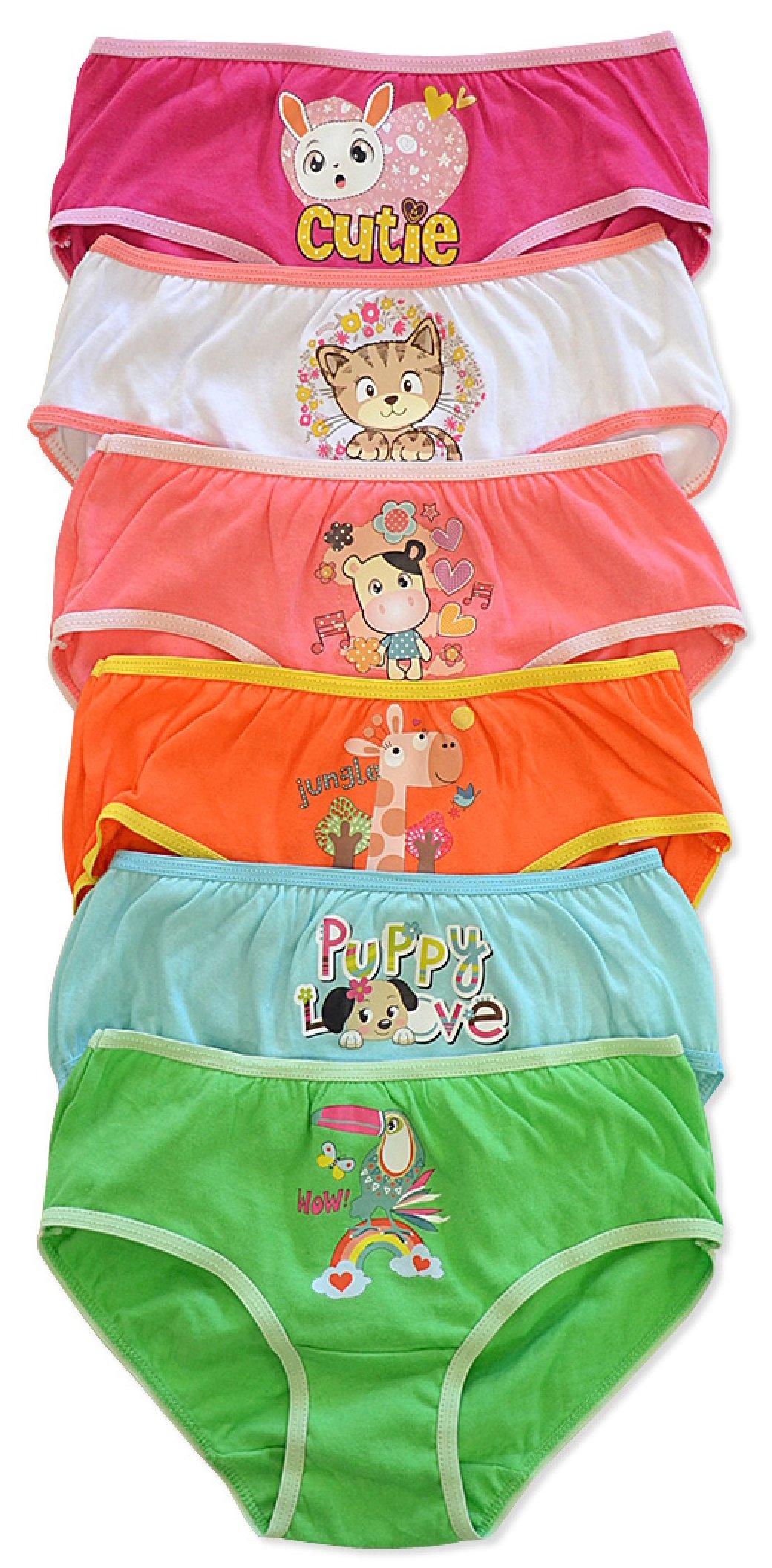 ToBeInStyle Girls' Pack of 6 Cutie Animal Love Print Cotton Briefs - S