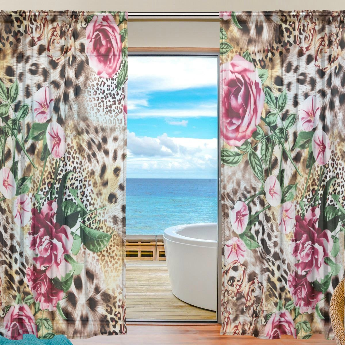 SEULIFE Window Sheer Curtain, Animal Tiger Leopard Print Flower Voile Curtain Drapes for Door Kitchen Living Room Bedroom 55x78 inches 2 Panels by SEULIFE