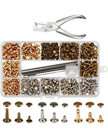 300 Sets 3 Sizes Leather Rivets LANMOK Double Cap Rivet Buttons Press Studs with Pliers and