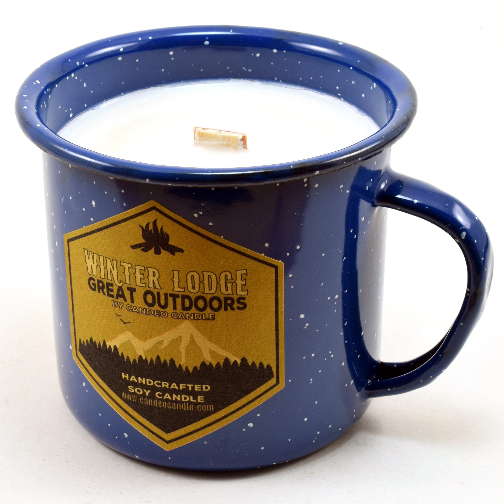 Winter Lodge Wood Wick Soy Candle in an Enamel Camping Mug, 10 oz