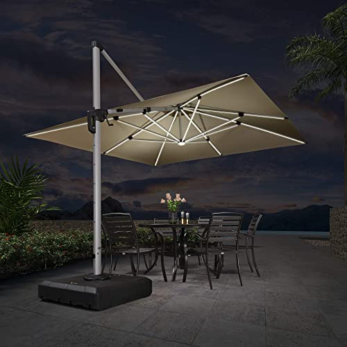 PURPLE LEAF 11 Feet Double Top Deluxe Solar Powered LED Square Patio Umbrella Offset Hanging Umbrella Outdoor Market Umbrella Garden Umbrella