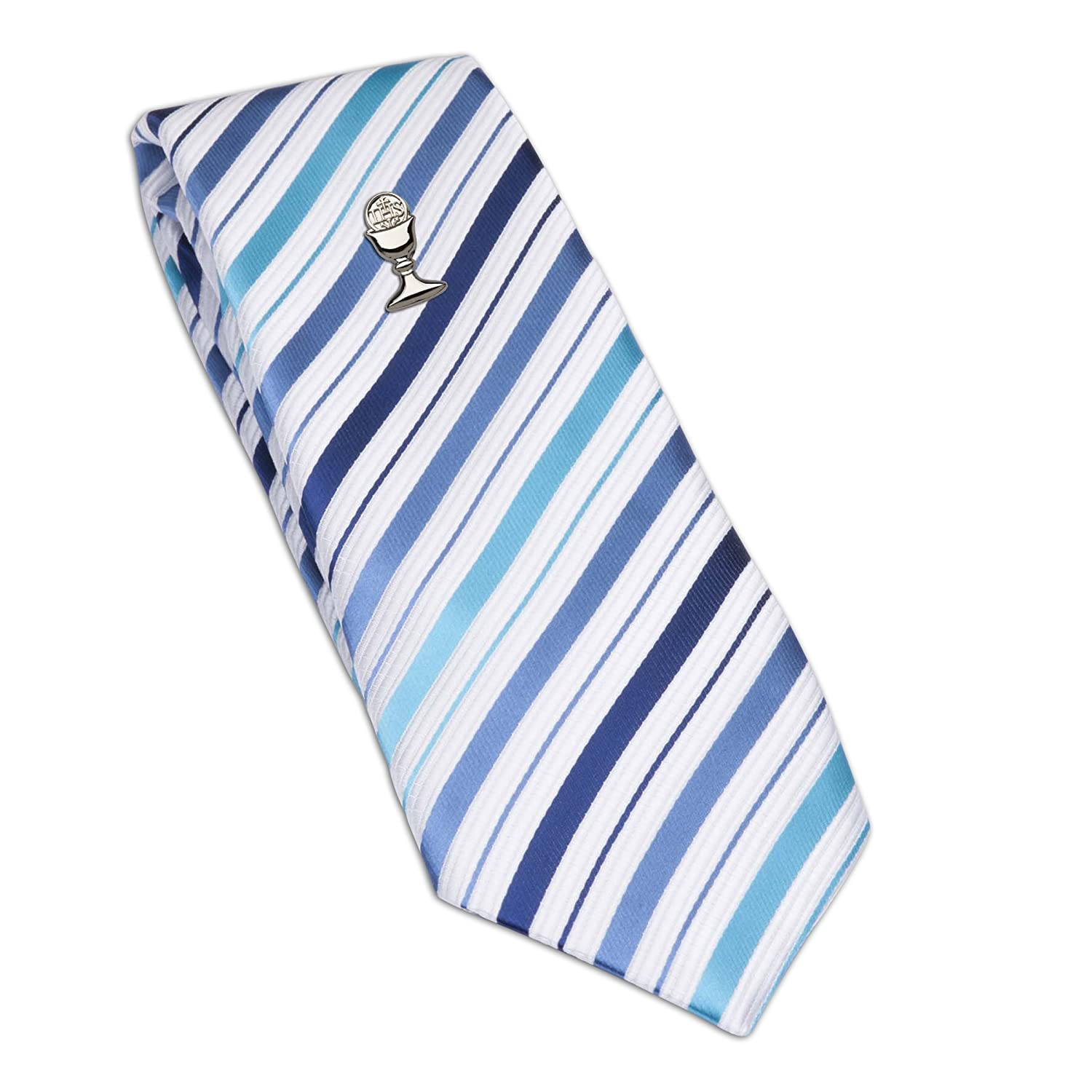 Boys Tie and Chalice Tie Pin in Silver-Tone for First Communion 45-inch FCTB-Blue//Silver Stripe-S