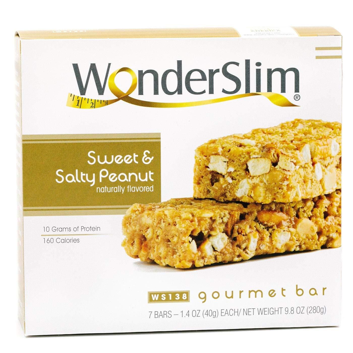 WonderSlim Gourmet 10g Protein Diet Bar (Sweet & Salty Peanut Bar, 1 Box - 7 Servings)