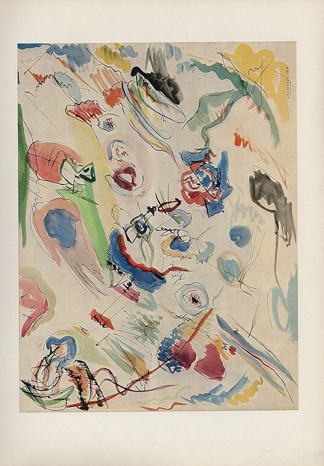 The first abstract watercolour Kandinsky