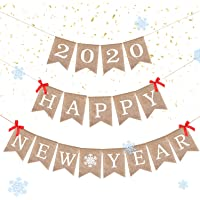 2020 Happy New Year Banner de Arpillera Rústico