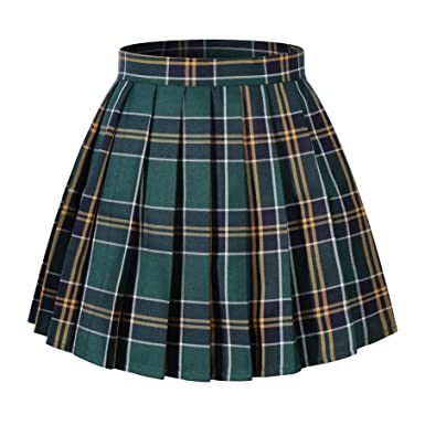 ec3a0c7e55 Amazon.com: Women`s Pleated Over knee Short Skirts (L, Dark Green ...