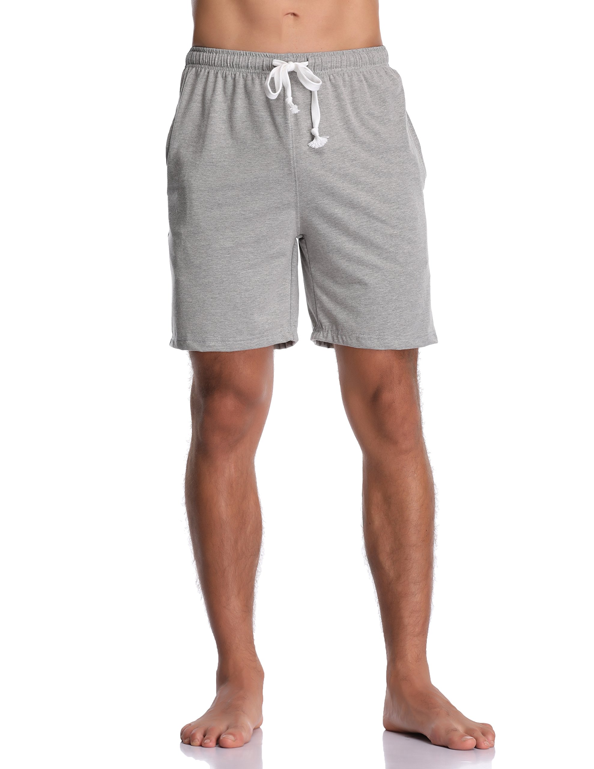 Luvrobes Men's Cotton Knit Pajama Lounge Shorts Sleep Bottoms (M, Heather Grey)