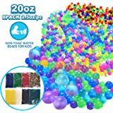 VIIVRIA Water Beads, 20 OZ (60,000 beads) Kids Water Beads, Flash Water Beads Orbeez Refill, Kids Tactile Toys, Sensory Toys, Vase Filler, Transparent Jelly Pearls 8 Pack Clear Water Beads