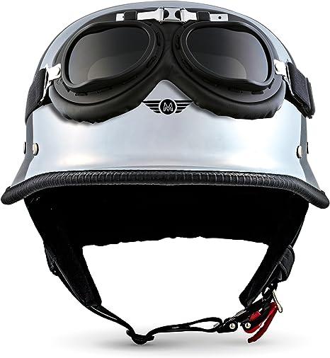 S XXL D33 CHROME JET BRAINCAP Motorrad-Helm Roller-Helm Mofa Halbschalen