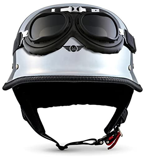 "61-62cm Moto Helmets/® D33-Set /""Matt Black/"" /· Brain-Cap /· Halbschale Jet-Helm Motorrad-Helm Roller-Helm Scooter-Helm Bobber Mofa-Helm Chopper Retro Cruiser Vintage Pilot Biker Helmet Brille /· XL"