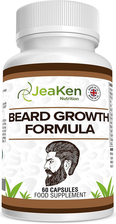 FÓRMULA DE CRECIMIENTO DE BARBA Por JeaKen - Mezcla de vitaminas, minerales y botánicos de calidad superior para el crecimiento de la barba de salud ...