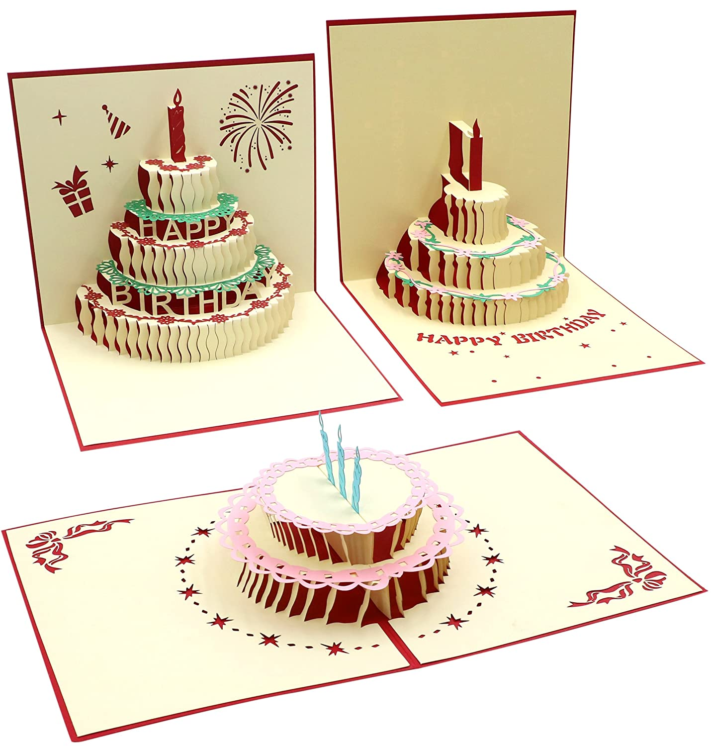 Amazon Com Birthday Cards Envelopes 3 Pcs 3d Happy Birthday