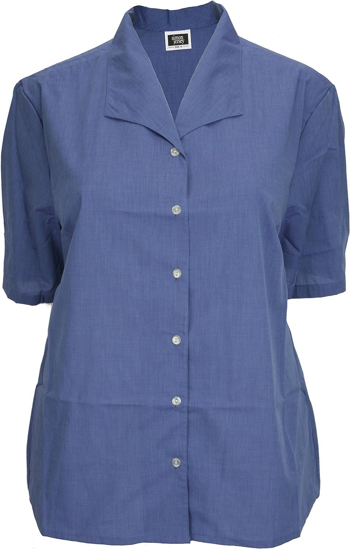 Simon camiseta deportiva de manga corta Azul cuello batista blusa de pantallas planas o espacios