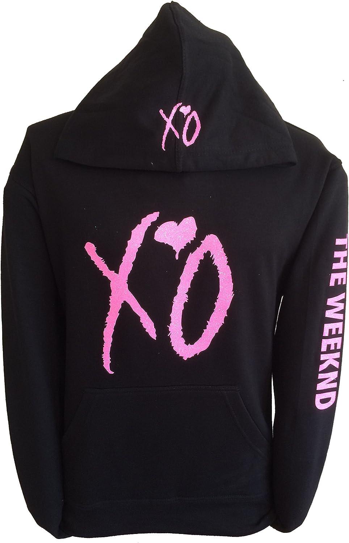 XO The Weekend Hoodie Hooded Sweatshirt Pink Glitter Design Sweatshirt