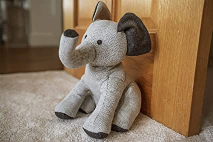 HomeZone® Novelty Elephant Animal Weighted Cuddly Toy Door Stop   Heavy  Child Safe Fabric Doorstop Wedge Home Decor (Nellie The Elephant)