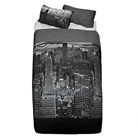 5576de314b8 Just Contempo New York Skyline Duvet Cover Set, King, Grey: Amazon ...