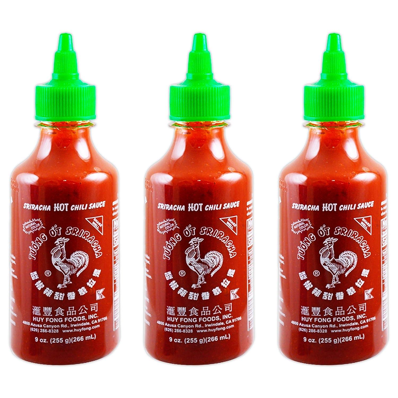 Huy Fong Sriracha Hot Chili Sauce, 9 Ounce Bottle ,spice,chili,sriracha(3 Bottles)
