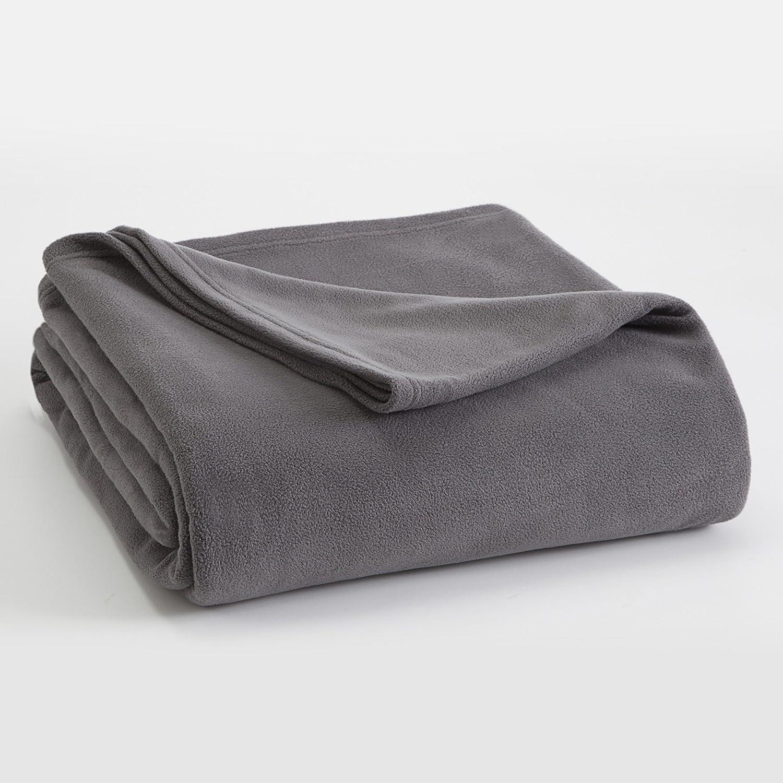 FLEECE BLANKET BY VELLUX - King, Microfiber, Microfleece, Lightweight,  Warm, Soft - Tornado Grey