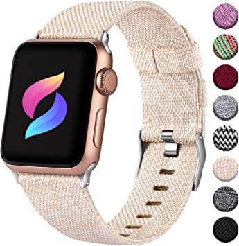 Haveda Fabric Bands Compatible for Apple Watch 40mm 44mm Series 4 Series 5, Soft iWatch Bands 38mm 42mm Womens, Woven Canvas Nylon Sport Strap for ...