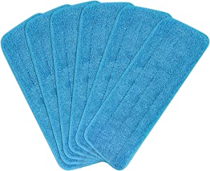 6pcs Microfiber Spray Mop Replacement Heads for Wet/Dry Mops Flat Replacement Heads for Floor Cleaning and Scrubbing Microfiber Pros Reusable Mop Pads Compatible with Bona Floor Care System
