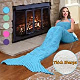Premium Mermaid Tail Sherpa Blanket,Super Soft Warm Sherpa Lined Knit Mermaids with Non-slip Neck Strap,Best Gift for Girls Women Adult Teens Birthday Holiday By Catalonia Blue