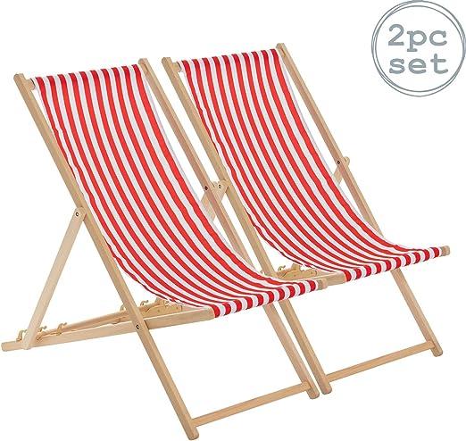 Harbour Housewares Tumbona reclinable y Plegable - Ideal para Playa y jardín - Estilo Tradicional - Rayas Rojas/Blancas - Pack de 2: Amazon.es: Hogar