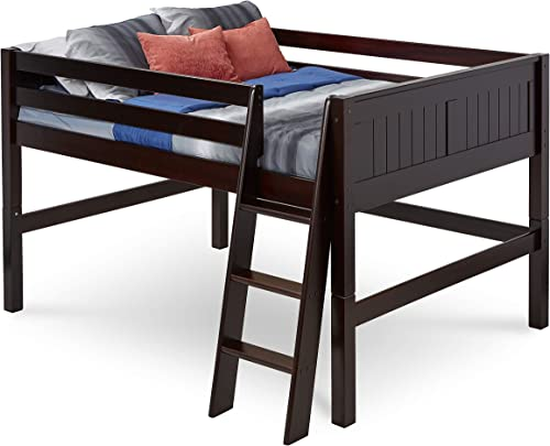 Camaflexi Panel Style Solid Wood Low Loft Bed, Full, Side Angled Ladder, Cappuccino