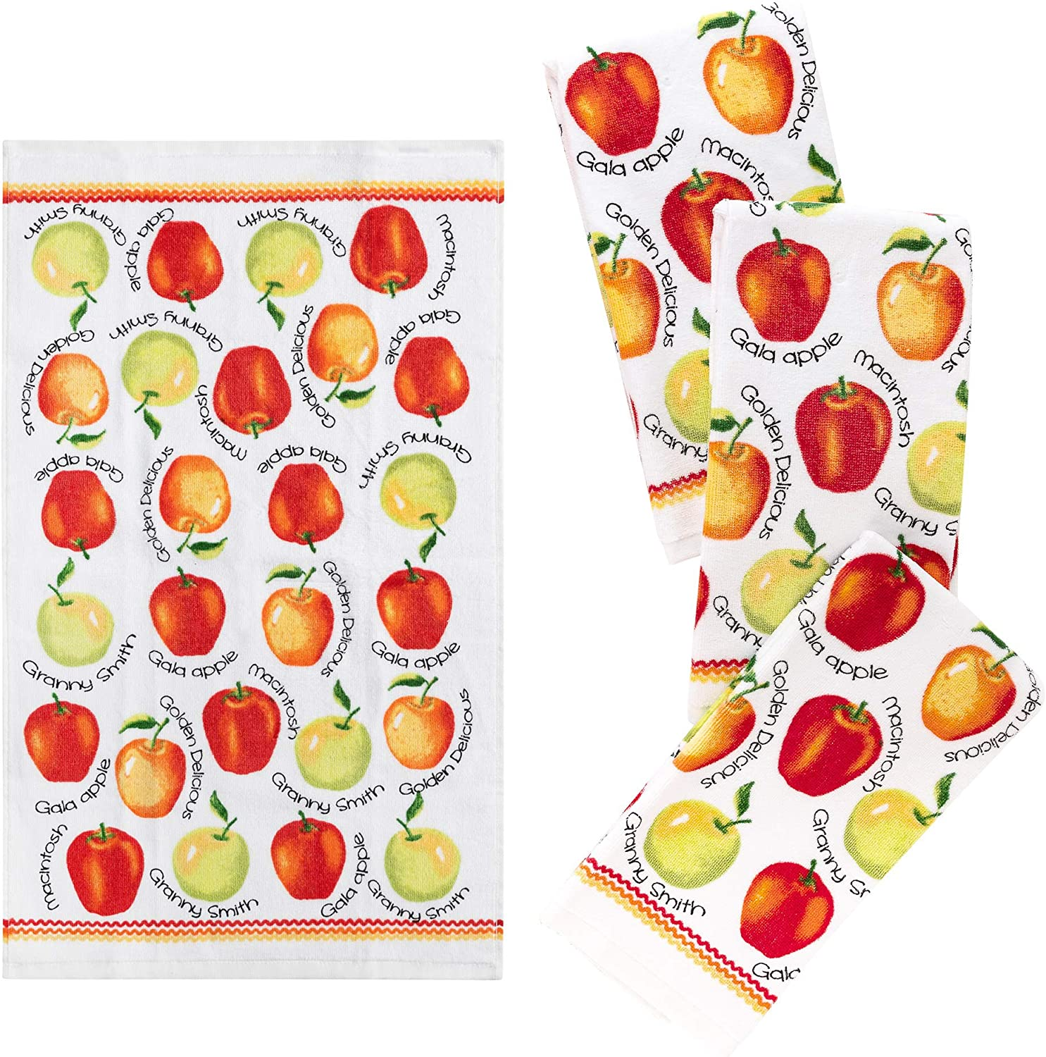 "Franco Kitchen Designers Set of 4 Decorative Soft and Absorbent Cotton Dish Towels, 15"" x 25"", Apple Variety"