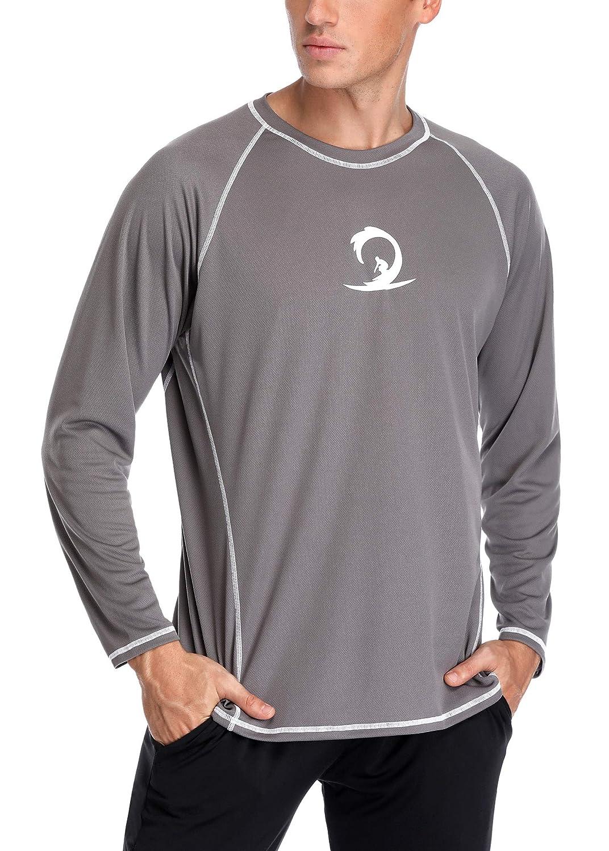 ALove Men Long Sleeve Rash Guard Quick Dry Swim Shirts Sun Protection Athletic Top