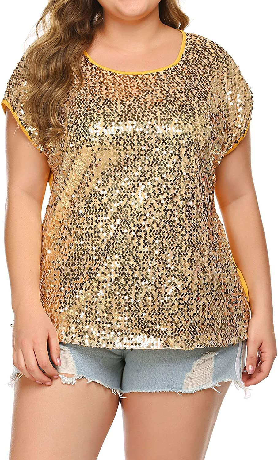 In Voland Women S Sequin Tops Plus Size Round Neck Sparkle Top Shimmer Glitter Short Sleeve T Shirt Tunic Blouse At Amazon Women S Clothing Store