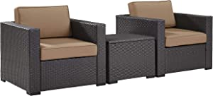 Crosley Furniture Biscayne 3-Piece Outdoor Wicker Conversation Set, Brown with Mocha Cushions