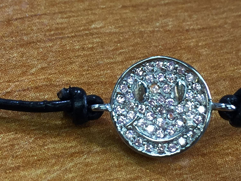 Sterling Silver Happy Face Best Friends Bracelet Genuine Black Leather Jewelry