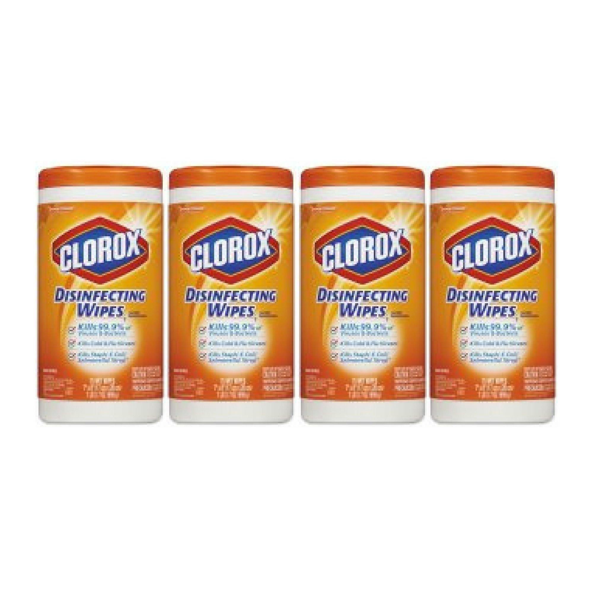 Clorox Disinfecting Wipes, Orange Fusion, 75 Wet Wipes - 4 Packs