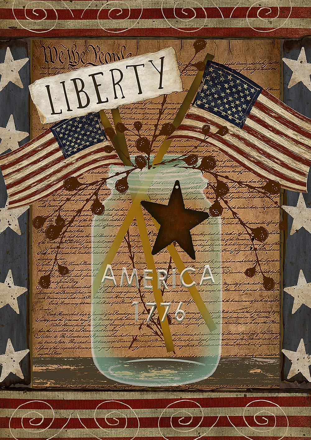 Toland Home Garden 1112202 American Liberty 12.5 x 18 Inch Decorative, Patriotic Mason Jar Garden Flag