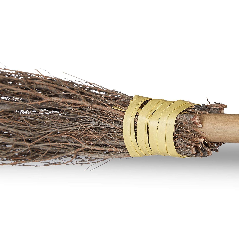 Decoraci/ón Palo de bamb/ú Color marr/ón Relaxdays- Escoba Bruja 93 cm Accesorio para Disfraces 10023850