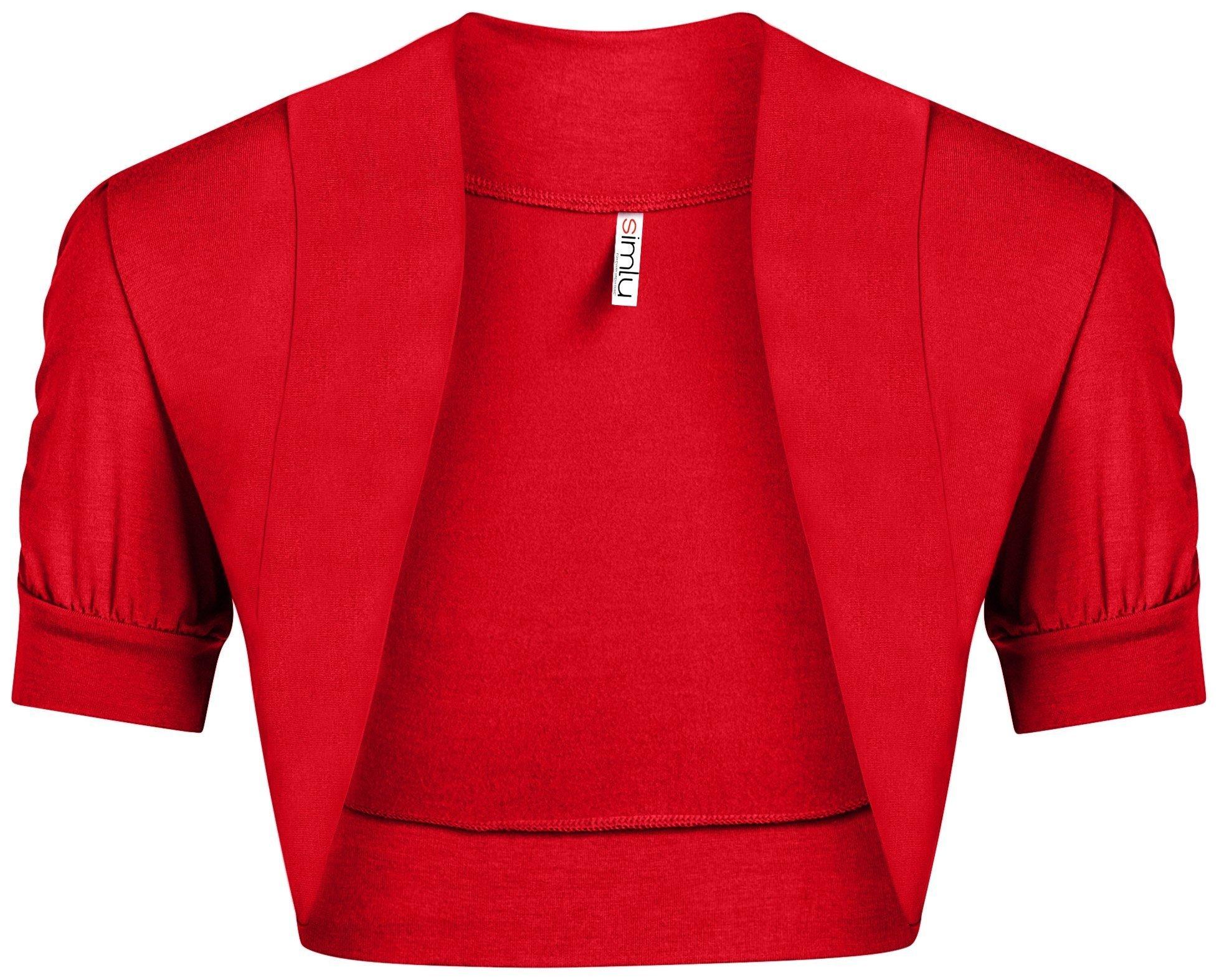 Red Shrug for Women Plus Size and Regular Size Short Gathered Sleeve Red Bolero Jacket,Red,X-Large