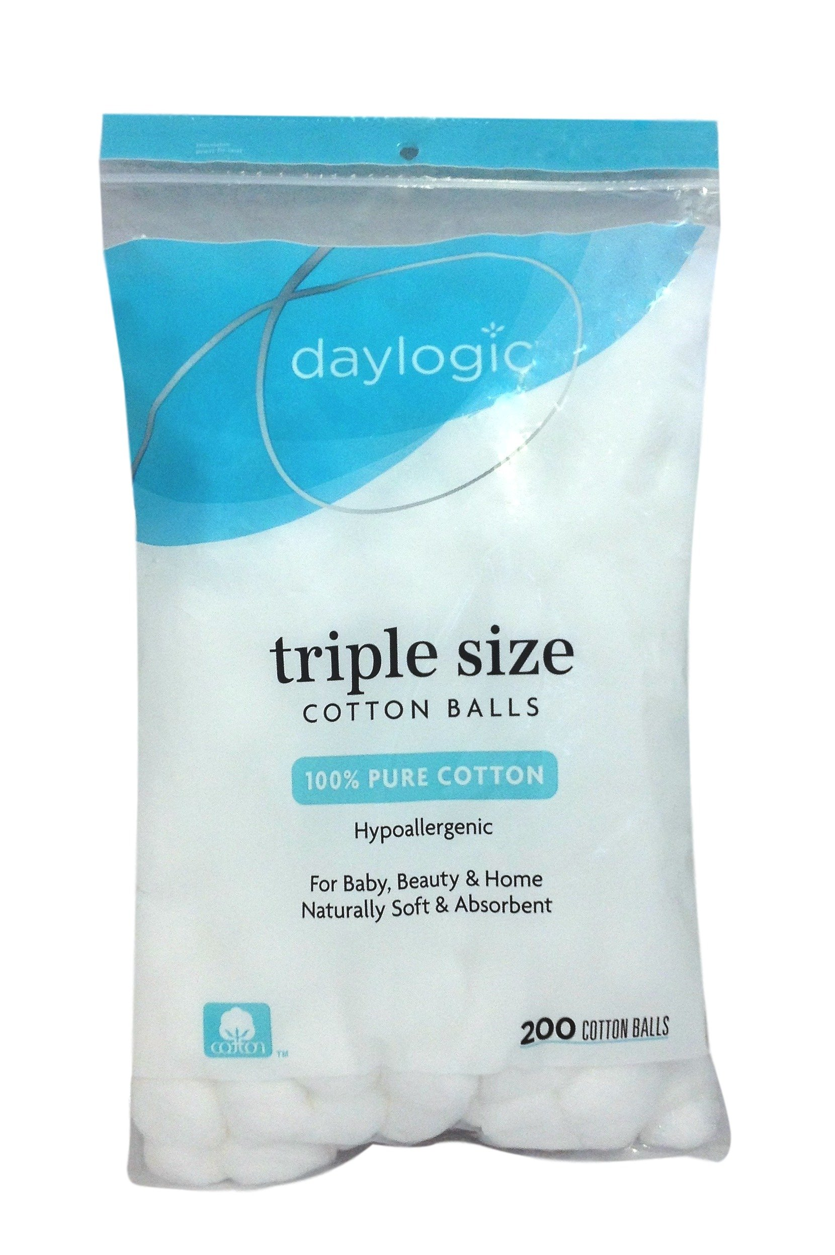 daylogic - Triple Size Cotton Balls - Pack of 3, 200 Count per Pack