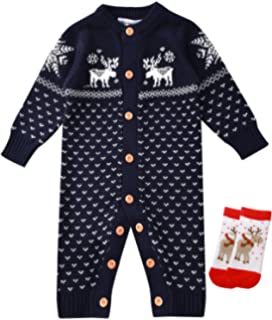 dcafaa710 Amazon.com  ZOEREA Newborn Baby Romper Christmas Clothes Knitted ...
