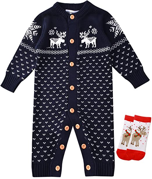 480411558 ZOEREA Unisex Newborn Baby Knitted Romper Christmas Sweaters+Socks ...