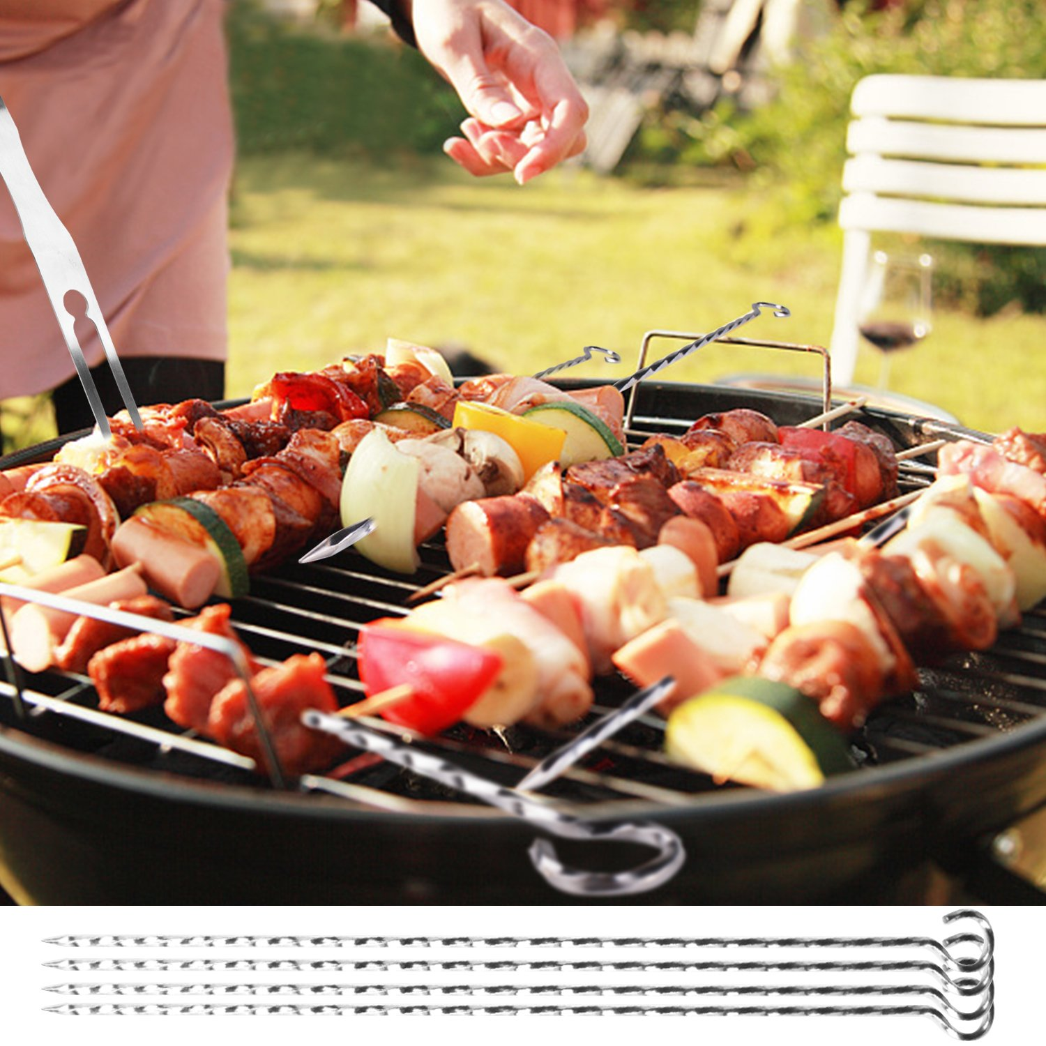 BBQ Tools Set, Morpilot Grill Tools set, Heavy Duty Stainless Steel Barbecue Grilling Utensils, Premium Grilling Accessories for Barbecue - 4 In1 Spatula, Tongs, Forks, and Basting Brush