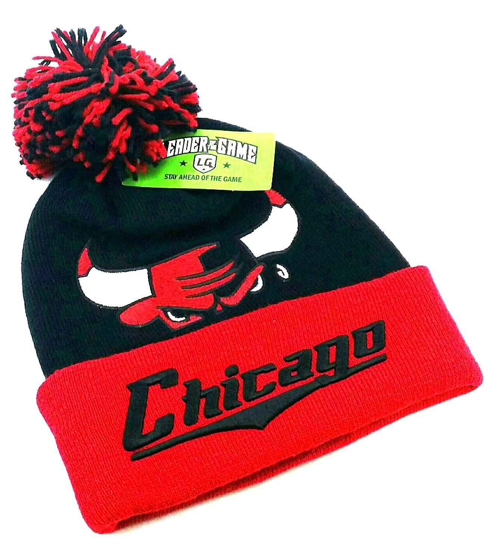 d3602b404b5 Amazon.com  Chicago TopPro New Leader Knit Beanie Toque Pom Bulls Colors  Head Black Red Cuffed Era Hat Cap  Sports   Outdoors