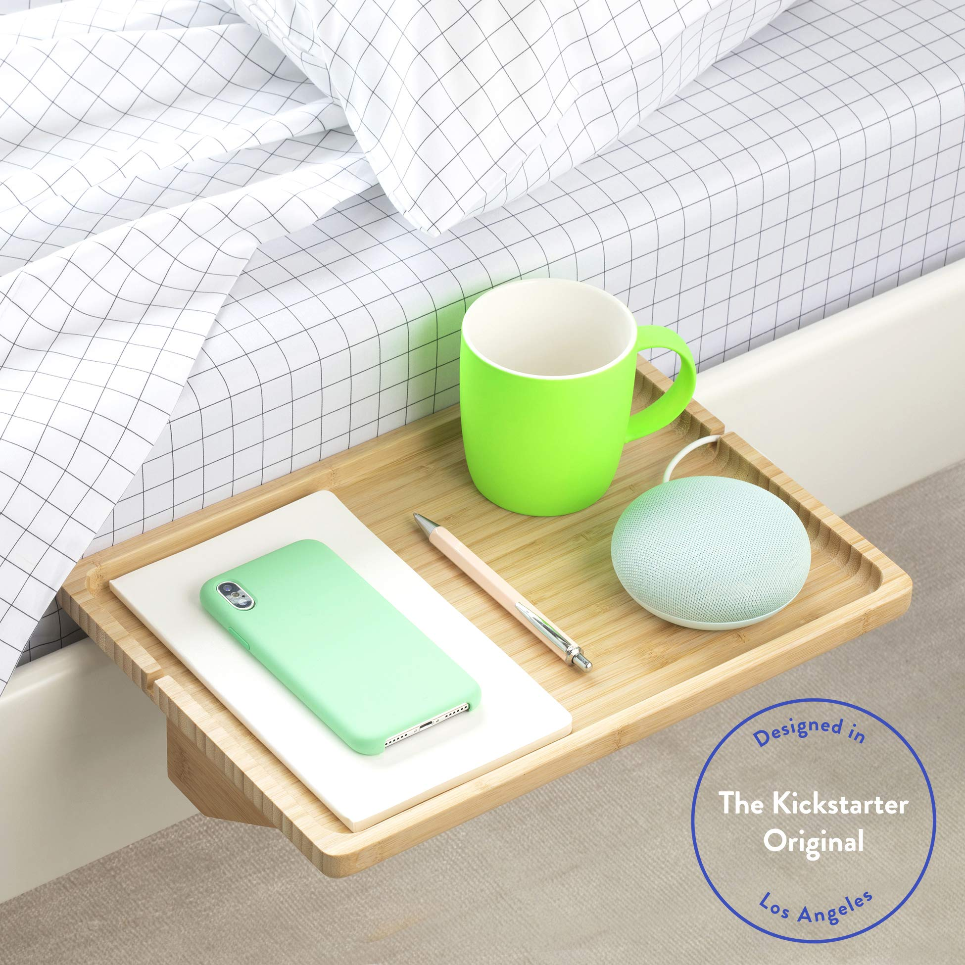 BedShelfie The Original Bedside Shelf - 9 Colors / 4 Sizes - AS SEEN ON Business Insider (Minimalist, Natural)