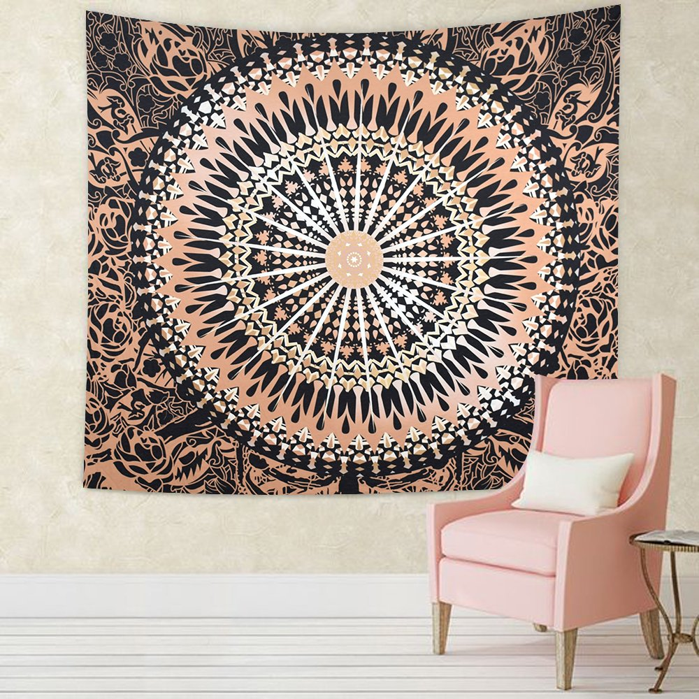 Willing Life Boho Large Tapestry 80X60 Inch Flower Buds Print Hippie Gypsy Wall Hanging Bedspread Couch Cover Home Living Room Bedroom Decor Gift (Flower Round, Large)