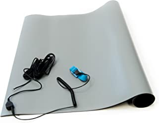 "Bertech ESD High Temperature Rubber Mat Kit with a Wrist Strap and Grounding Cord, 2' Wide x 3' Long x 0.08"" Thick, Gray"