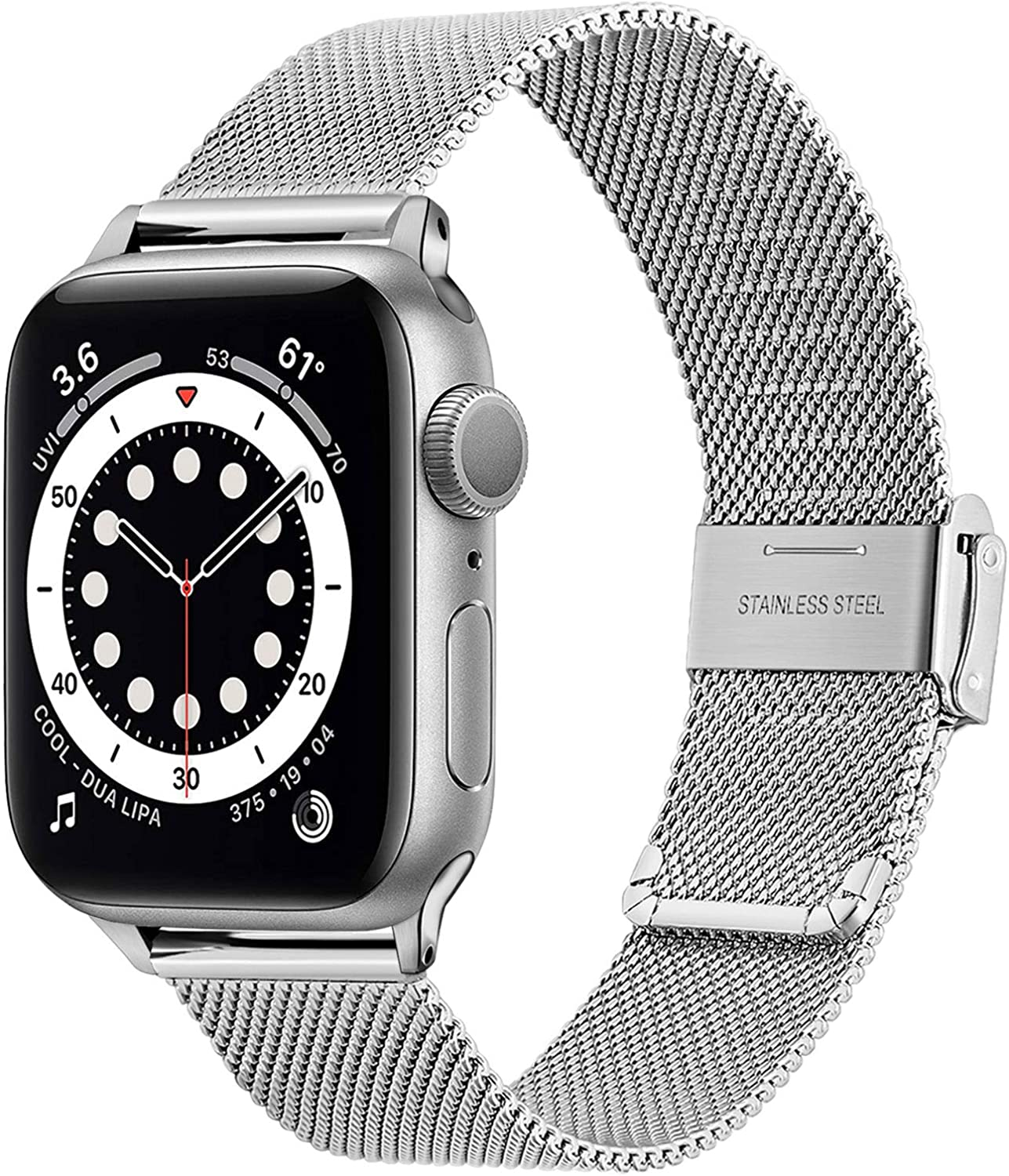 TRUMiRR Silver Band for Apple Watch Series 6 38mm 40mm Women Men, Mesh Woven Stainless Steel Watchband Replacement Strap Bracelet for iWatch Apple Watch SE Series 6 5 4 3 2 1 38mm 40mm