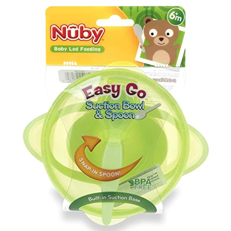 M Baby Feeding 6 Pink Nuby Easy Go Suction Bowl /& Snap In Spoon