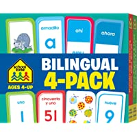 Image for School Zone - Bilingual Spanish/English Flash Cards 4 Pack - Ages 4+, Preschool to Kindergarten, ESL, Language Immersion, ABCs, Sight Words, and More (English and Spanish Edition) (Flash Card 4-pk)